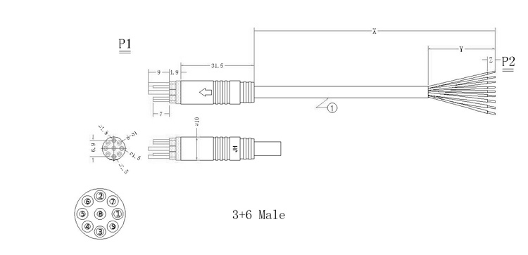 Drawing of 3+6 waterproof low voltage cable connector 3+6 male waterproof cables.jpg